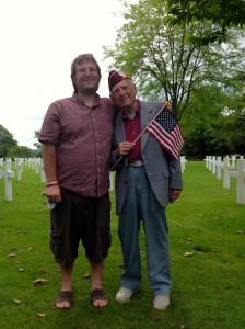 Bernie Rader with grandson Brad Rader at the American Cemetery, June 6, 2014,