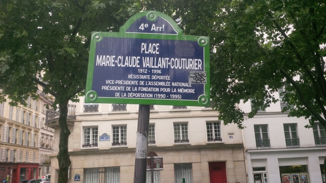 A street sign honoring Marie-Claude Vaillant-Couturier, a hero of the French resistance in World War II.