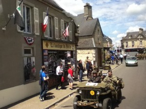 Soldiers in WWII jeeps took Sainte-Marie-du-Mont back to the days of liberation. Kiley Krzyzek Photo